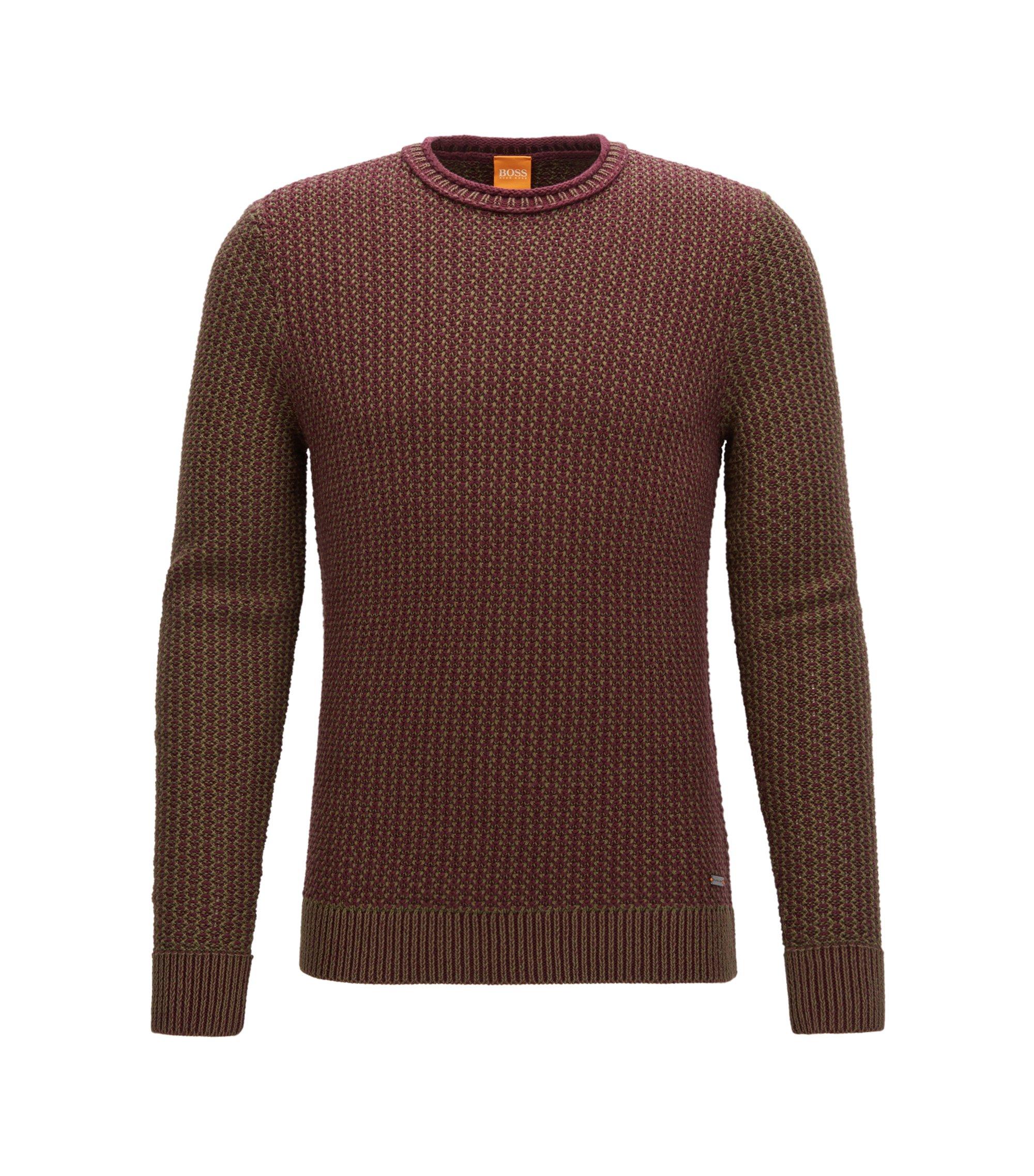 Maglione a girocollo in cotone lavorato, Rosso scuro