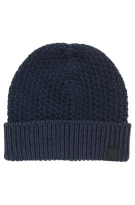 Cotton beanie with two-tone structure, Dark Blue