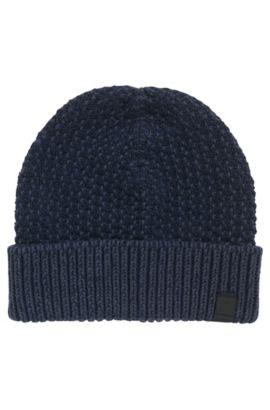 Gorro de punto de algodón con textura en dos tonos, Azul oscuro