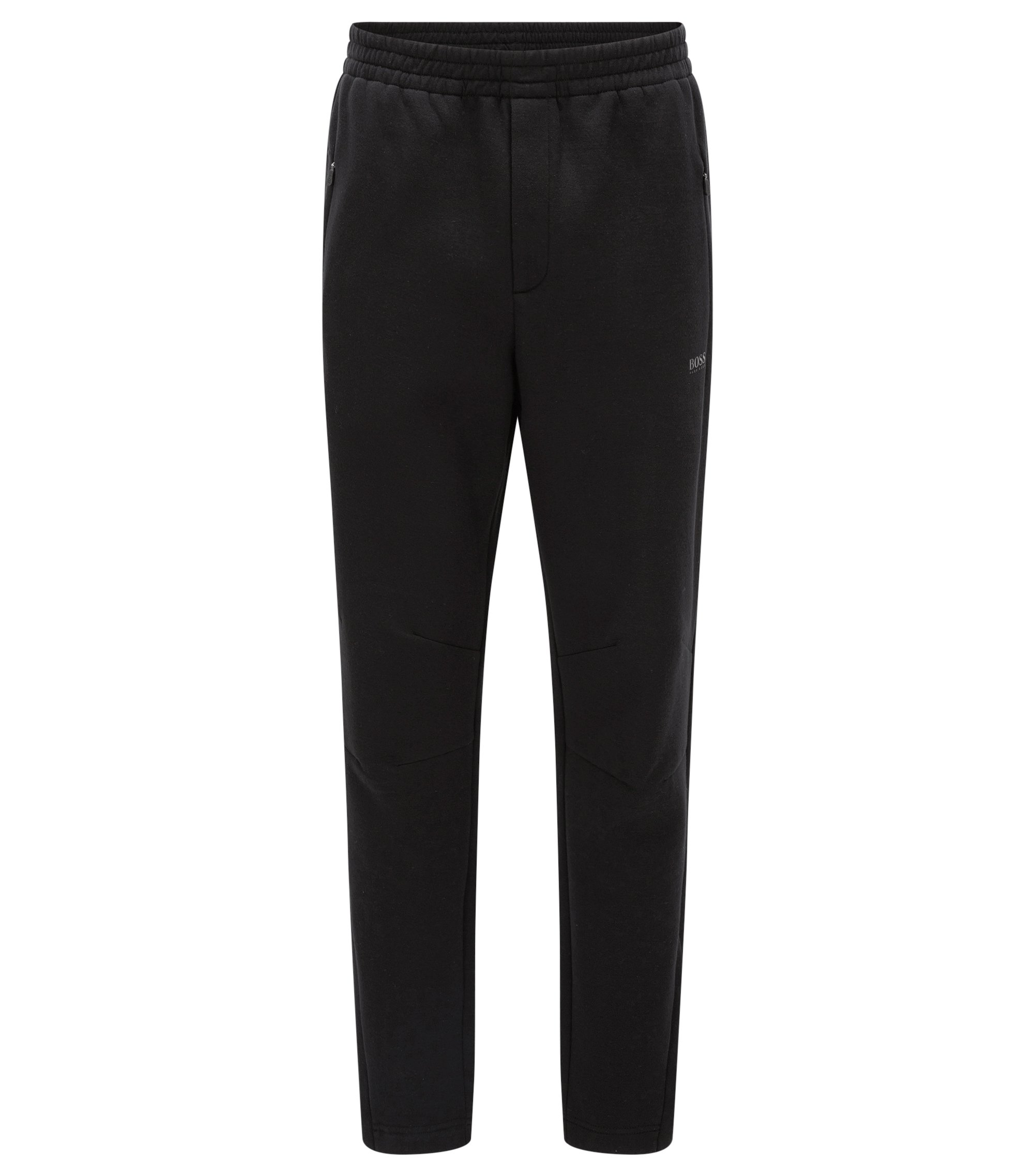 Pantaloni slim fit in tessuto double-face, Nero