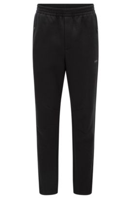 Slim-fit broek van dubbellaags materiaal, Zwart