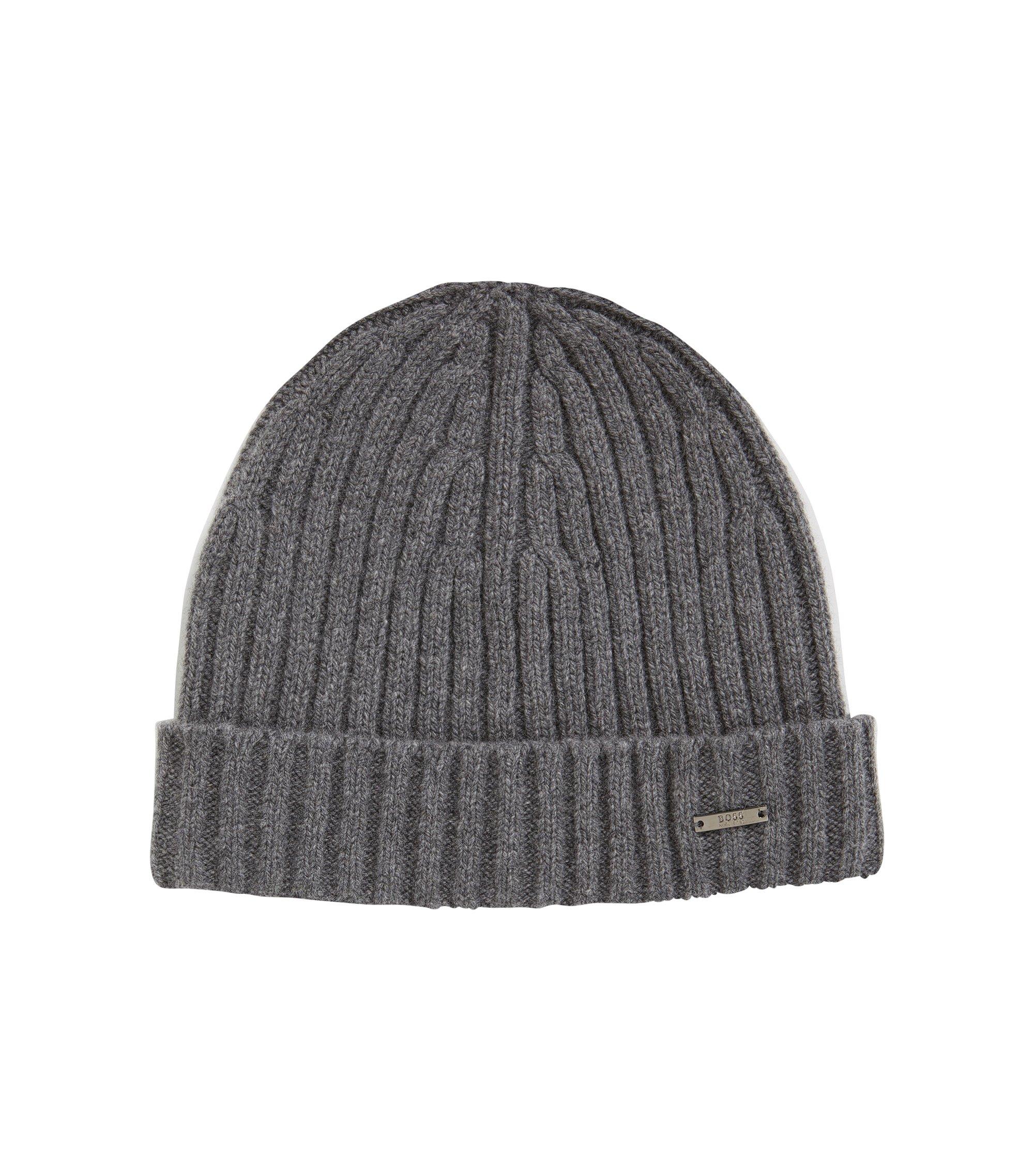 Cappello zuccotto a coste in cashmere e lana, Grigio