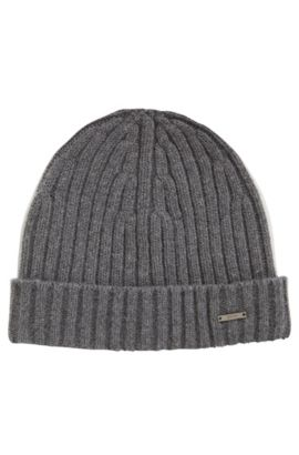 Ribbed beanie hat in cashmere and wool, Grey