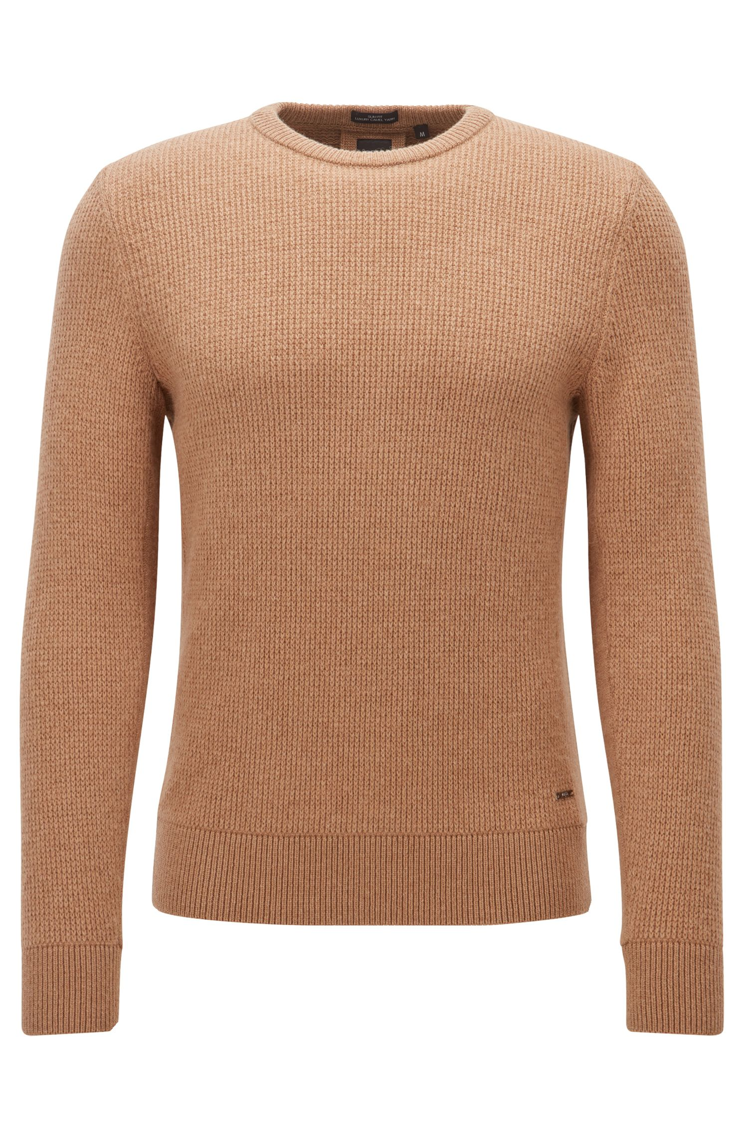 Camel-hair long-sleeved sweater
