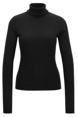 Slim-fit sweater in a cotton-silk blend, Black