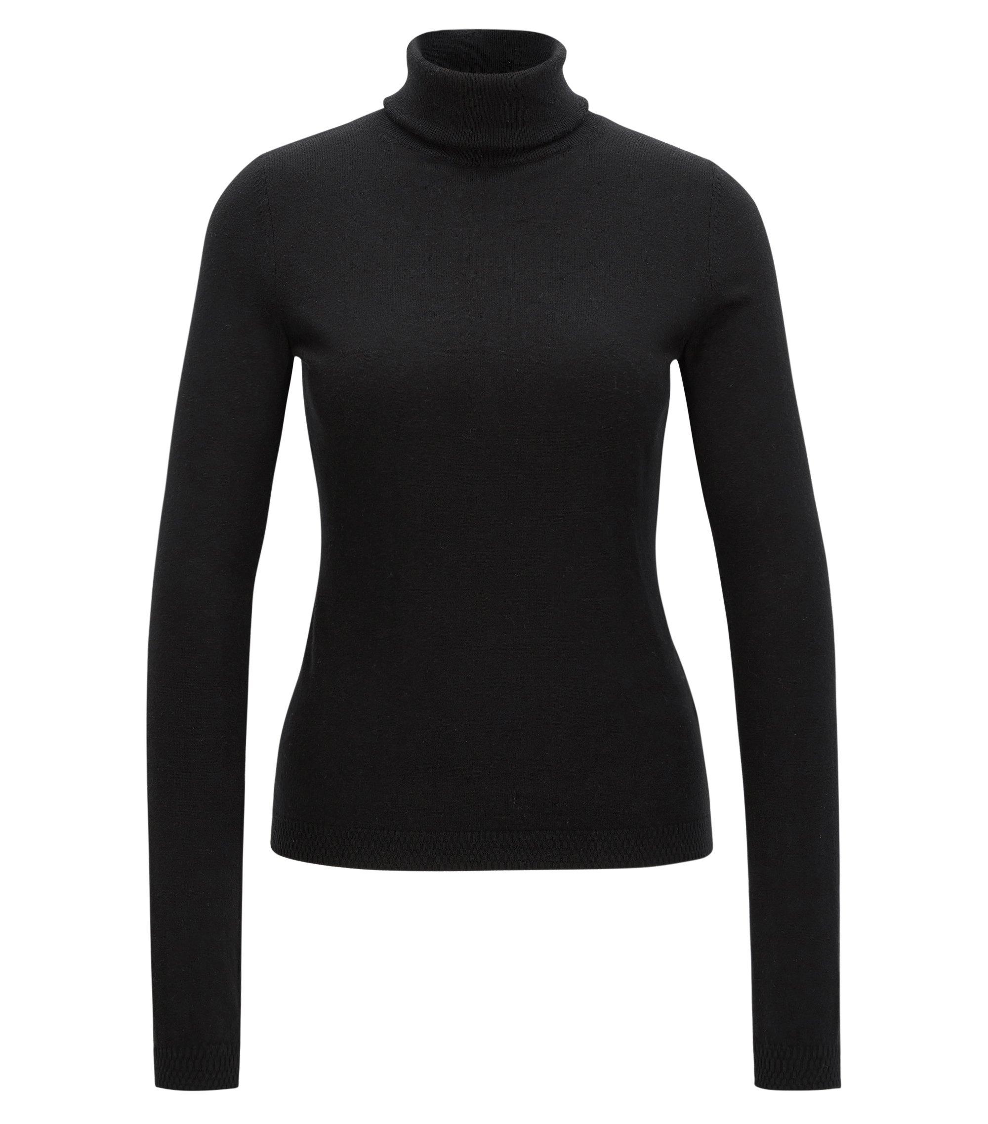 Jersey slim fit en mezcla de algodón con seda, Negro