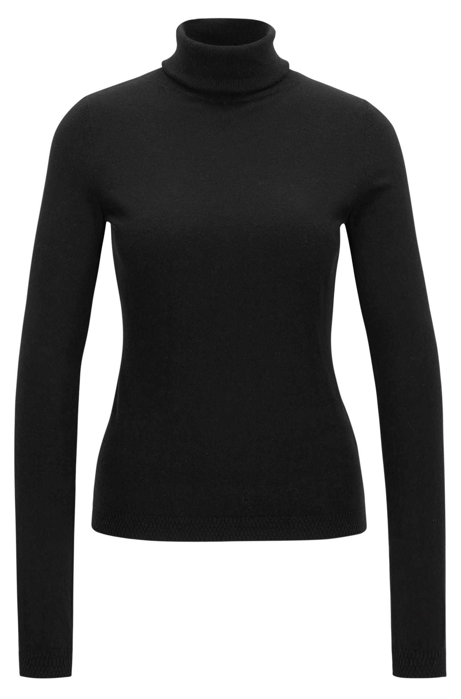 Slim-fit trui van een mix van katoen en zijde