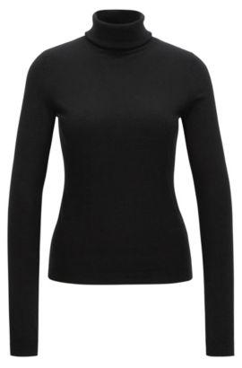 Slim-fit trui van een mix van katoen en zijde, Zwart