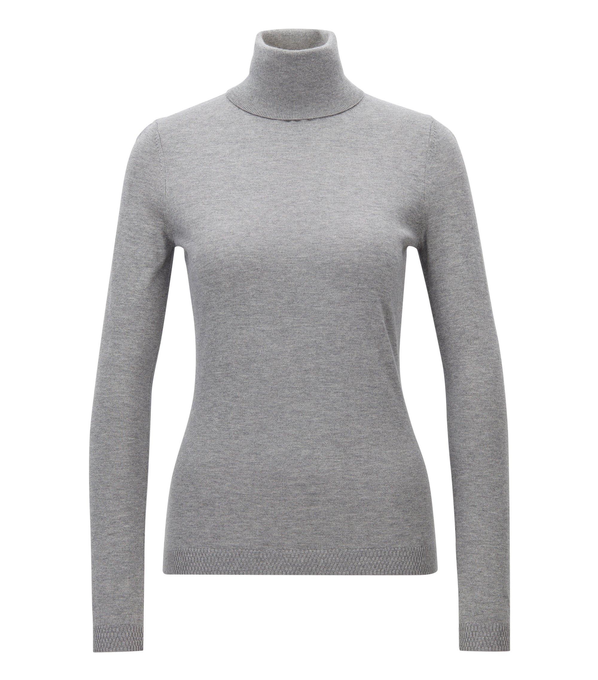 Jersey slim fit en mezcla de algodón con seda, Gris