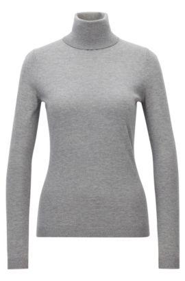 Slim-fit trui van een mix van katoen en zijde, Grijs