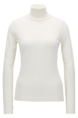 Slim-fit sweater in a cotton-silk blend, Natural