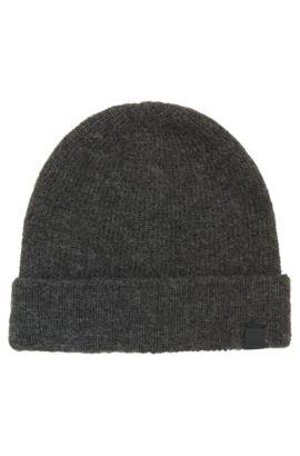 Alpaca yarn beanie hat, Dark Grey
