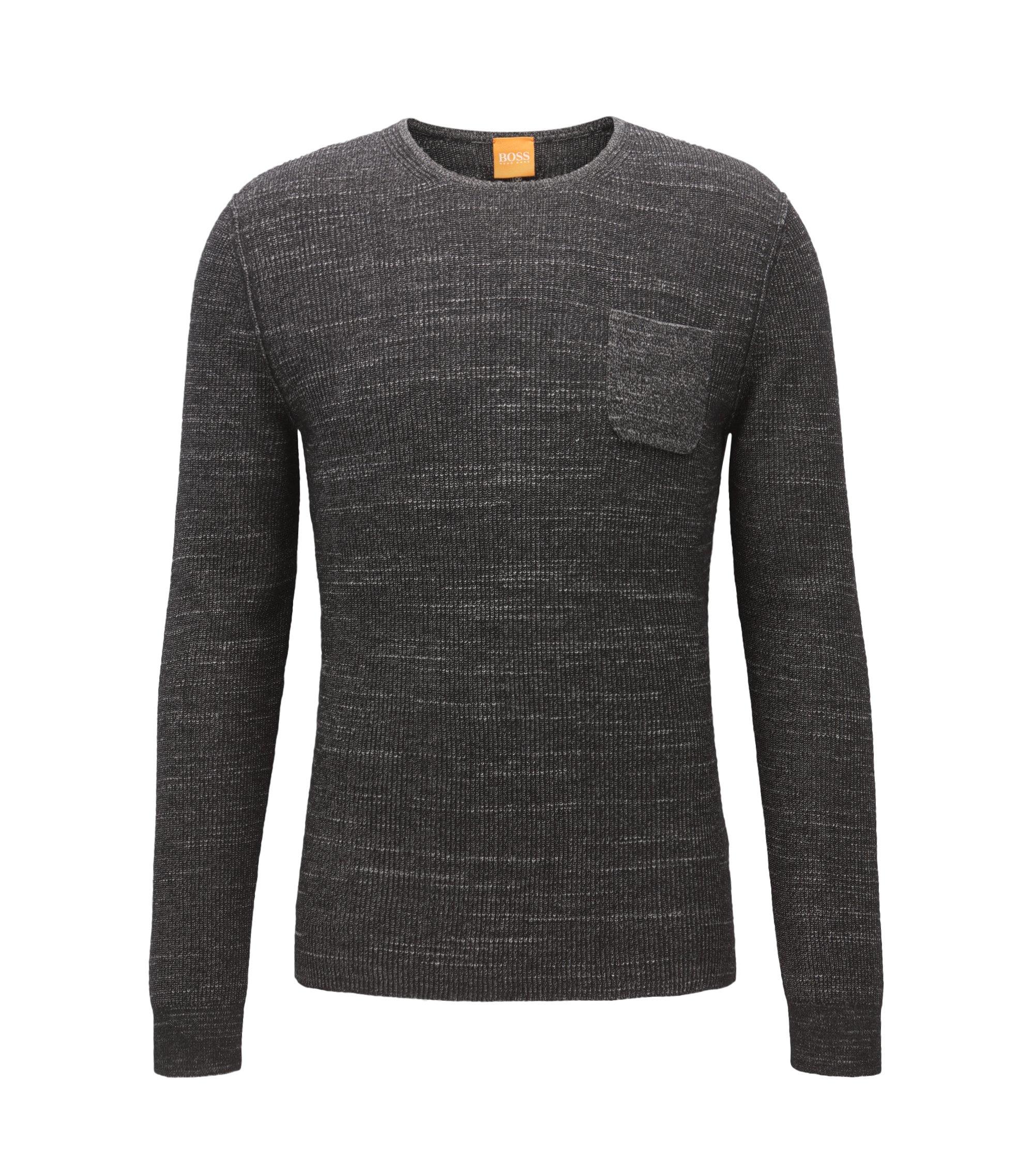 Regular-Fit Pullover aus zweifarbigem Baumwoll-Mix mit Alpaka und Schurwolle, Schwarz