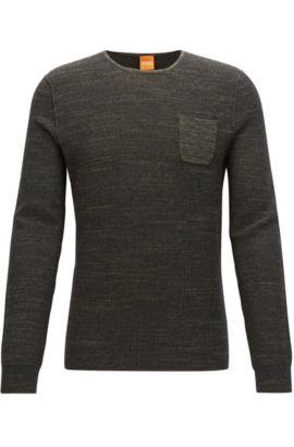 Regular-Fit Pullover aus zweifarbigem Baumwoll-Mix mit Alpaka und Schurwolle, Dunkelgrün
