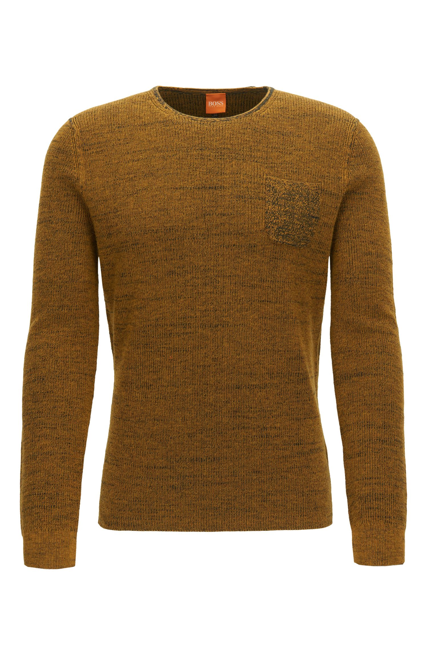 Crew-neck sweater in two-tone fabric