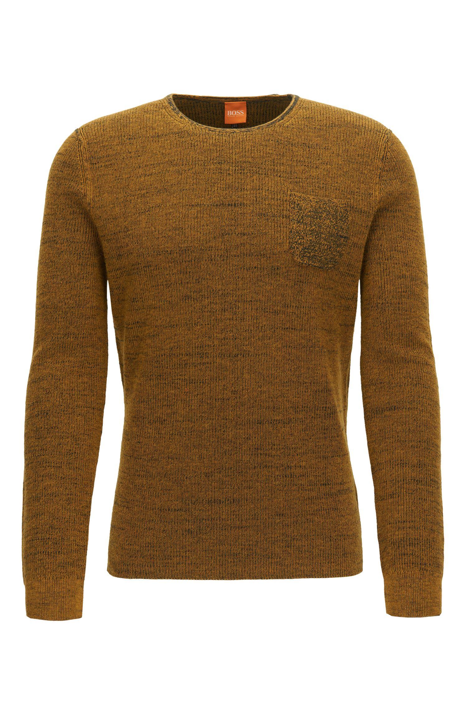 Regular-Fit Pullover aus zweifarbigem Baumwoll-Mix mit Alpaka und Schurwolle