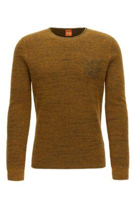 Regular-Fit Pullover aus zweifarbigem Baumwoll-Mix mit Alpaka und Schurwolle, Gelb