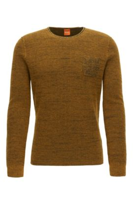 Crew-neck sweater in two-tone fabric, Yellow