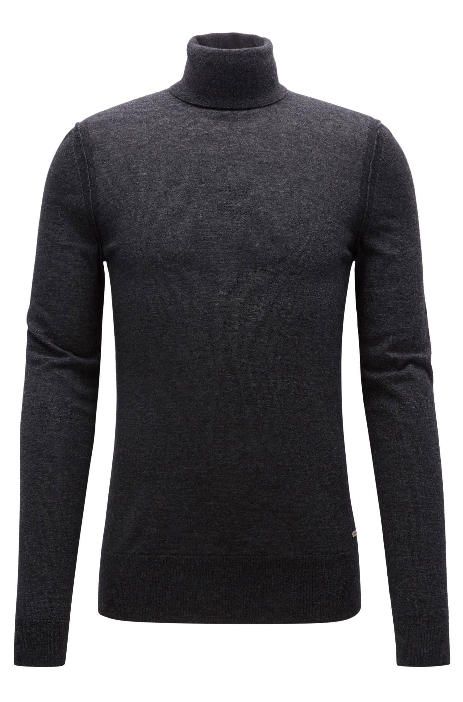 Turtle-neck sweater in knitted fabric