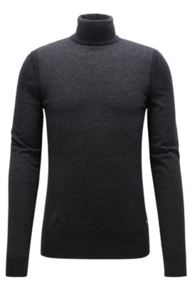 Turtle-neck sweater in knitted fabric, Dark Grey