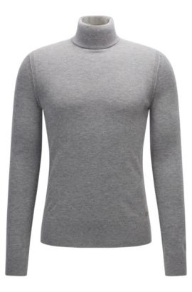 Turtle-neck sweater in knitted fabric, Light Grey