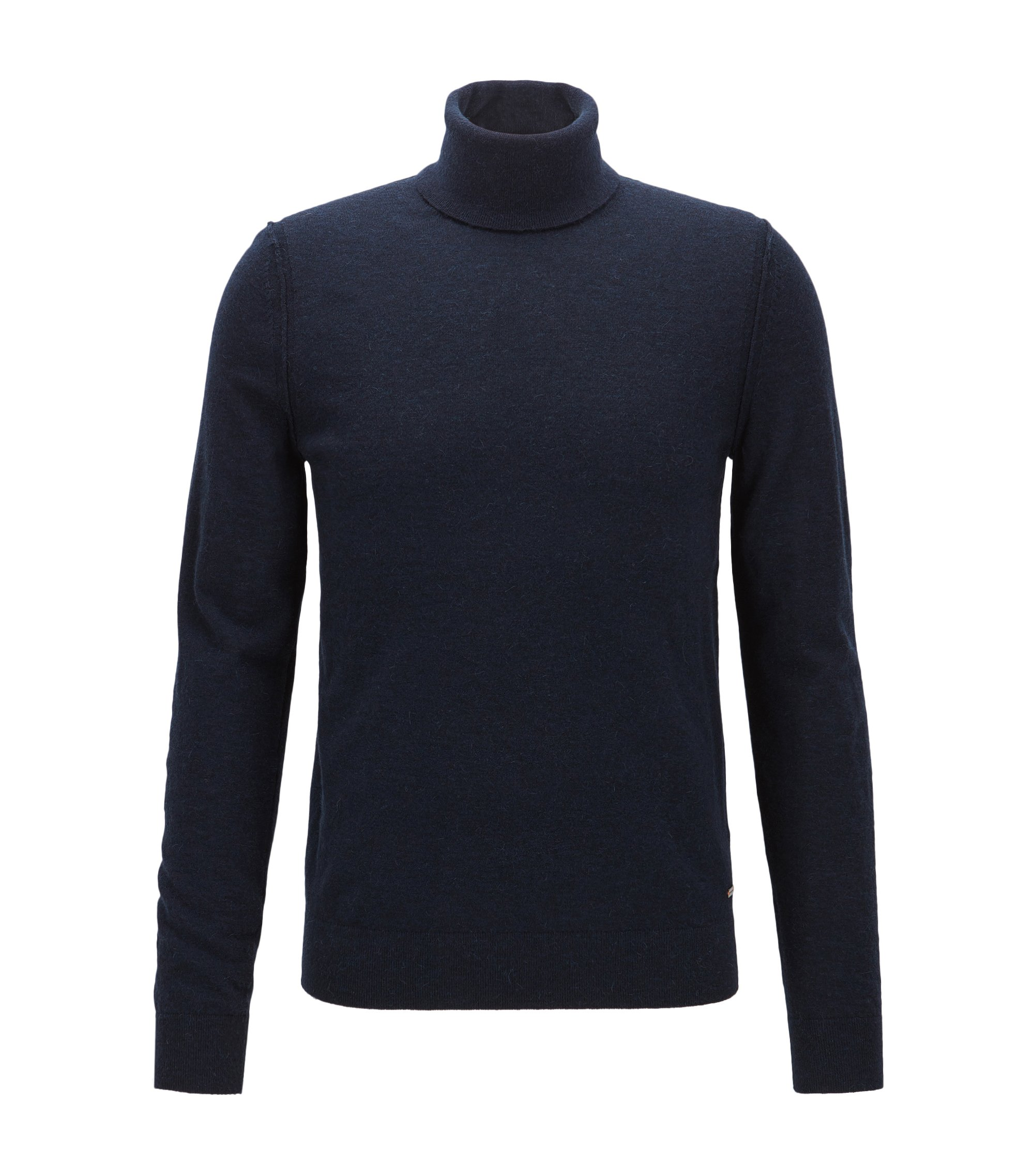 Turtle-neck sweater in knitted fabric, Dark Blue