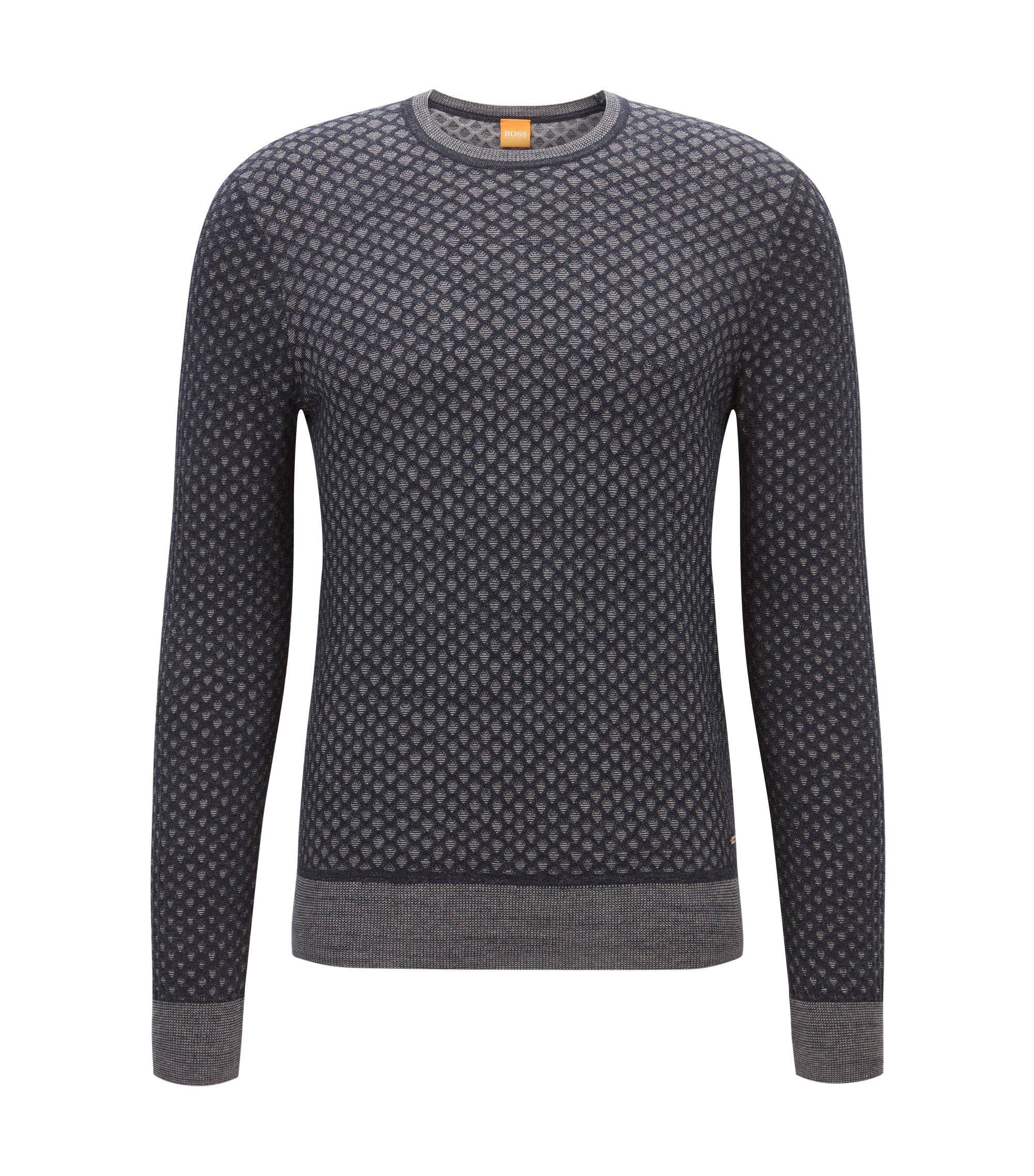 Regular-fit sweater in 3D-effect cotton, Dark Blue