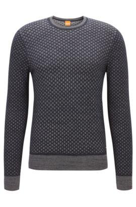 Regular-fit trui van katoen met 3D-effect, Donkerblauw