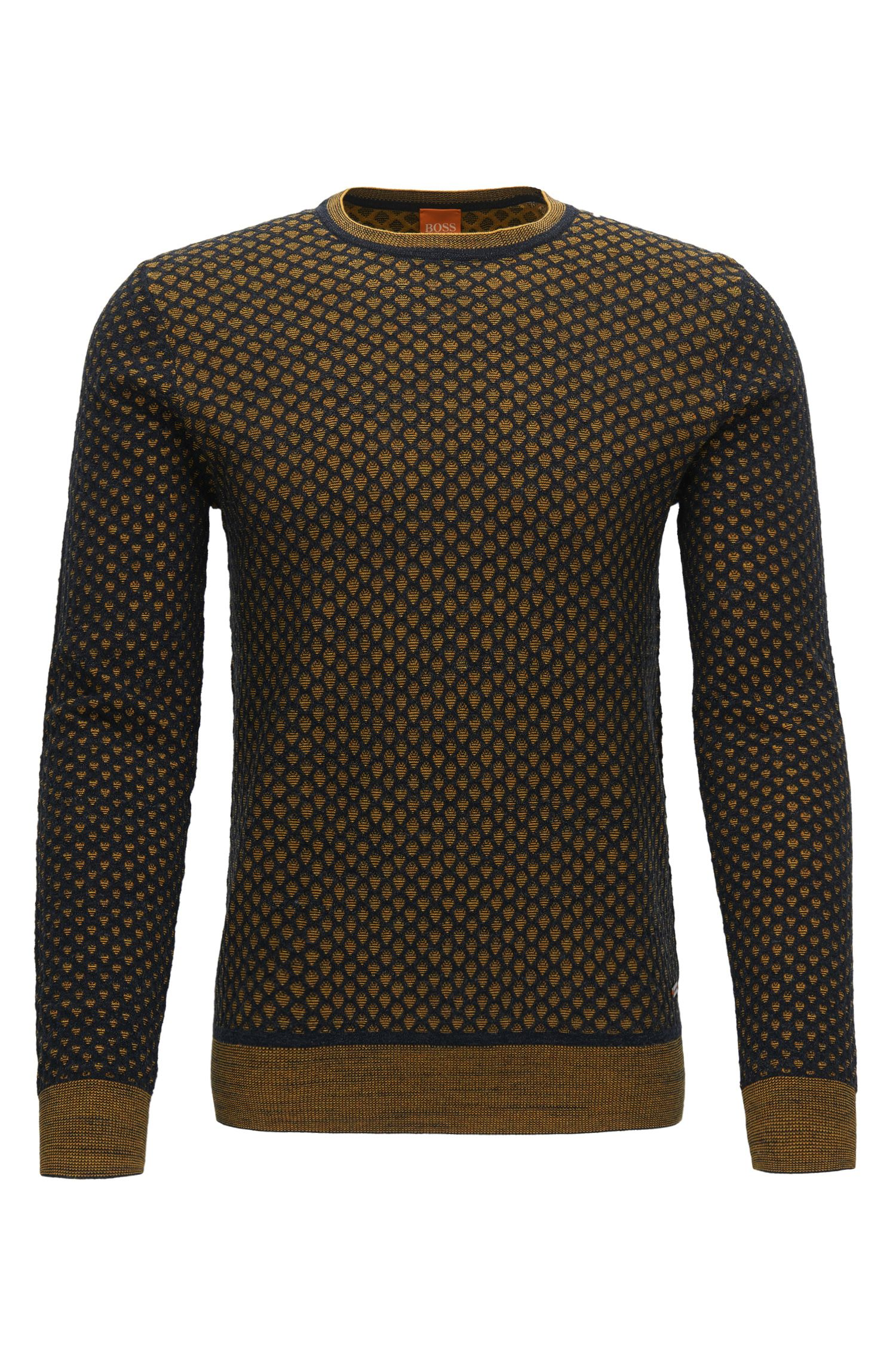 Regular-fit sweater in 3D-effect cotton