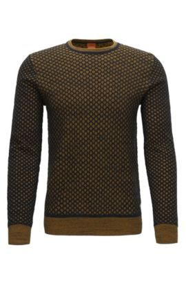 Regular-fit sweater in 3D-effect cotton, Yellow