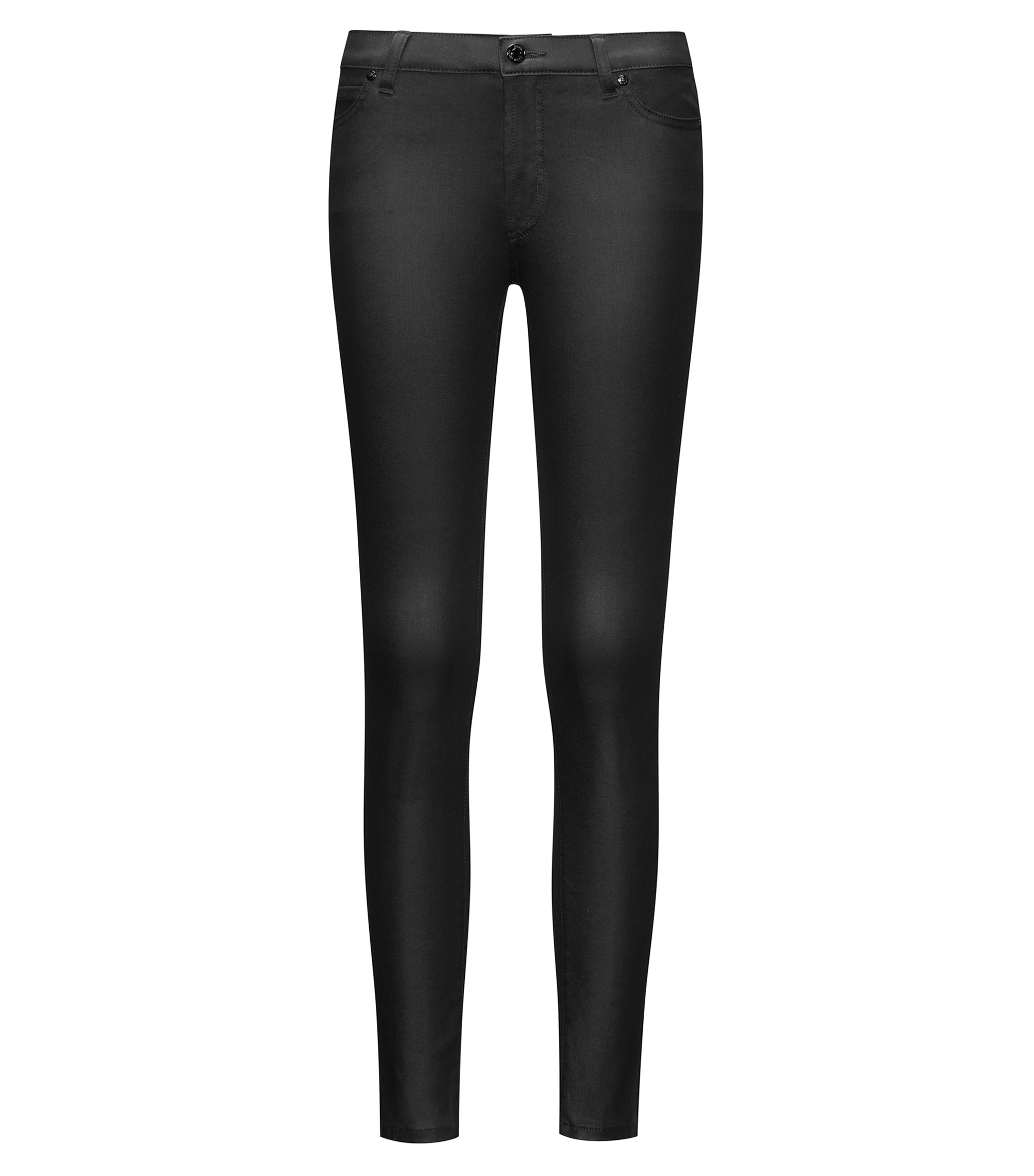 Jeans extra slim fit in denim rivestito, Nero