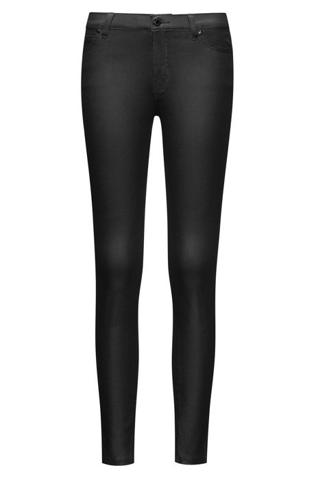 Super skinny fit jeans in coated denim, Black