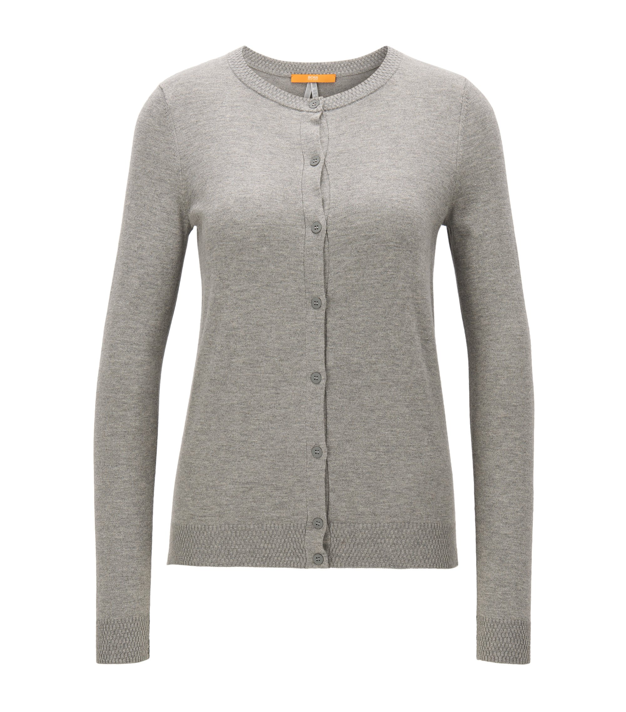 Cardigan regular fit in misto cotone, Grigio