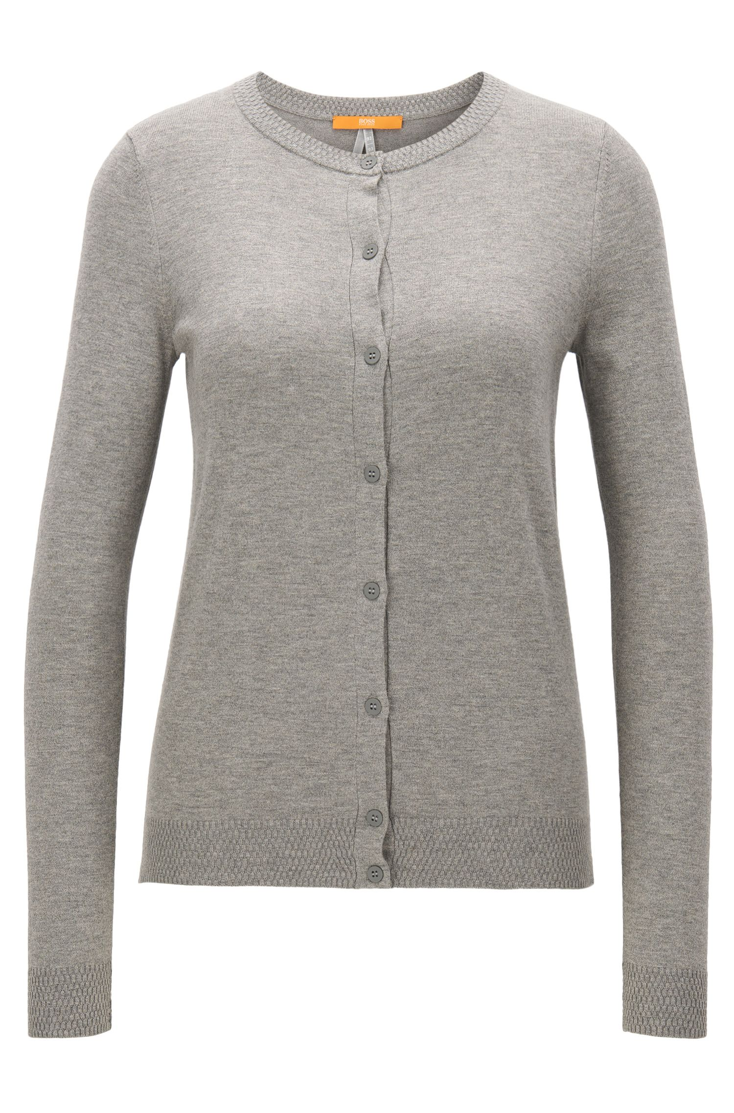 Regular-Fit Cardigan aus Baumwoll-Mix mit Seide
