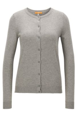Regular-Fit Cardigan aus Baumwoll-Mix mit Seide, Grau