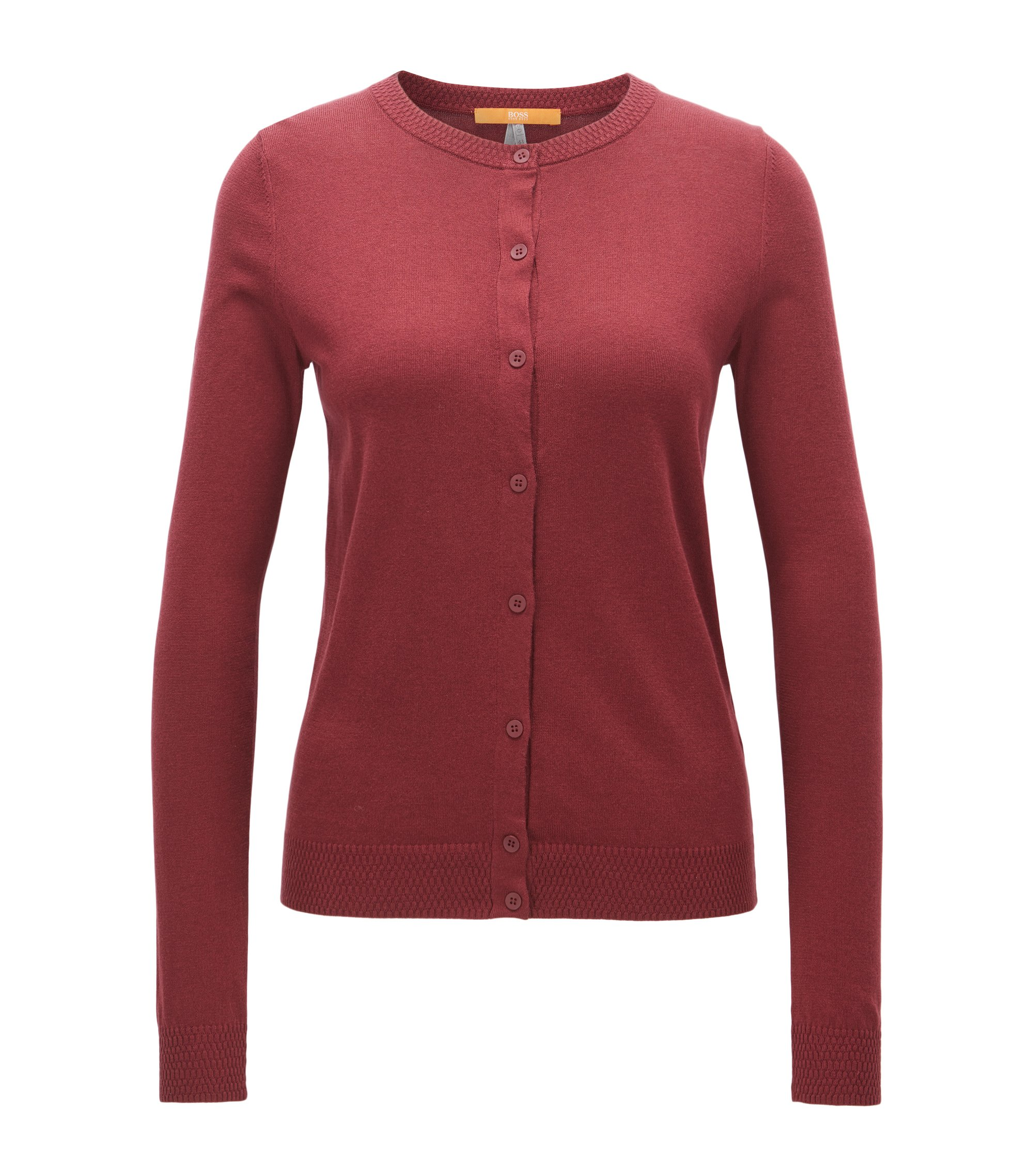Cardigan Regular Fit en coton mélangé, Rouge sombre