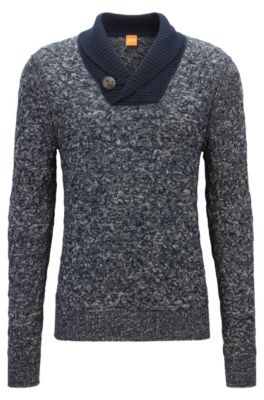 Cable-knit sweater with shawl lapels, Dark Blue