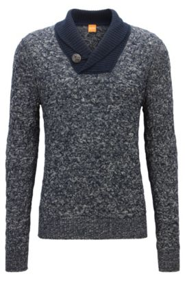 Regular-Fit Pullover aus Baumwoll-Mix mit Schurwolle und Alpaka, Dunkelblau