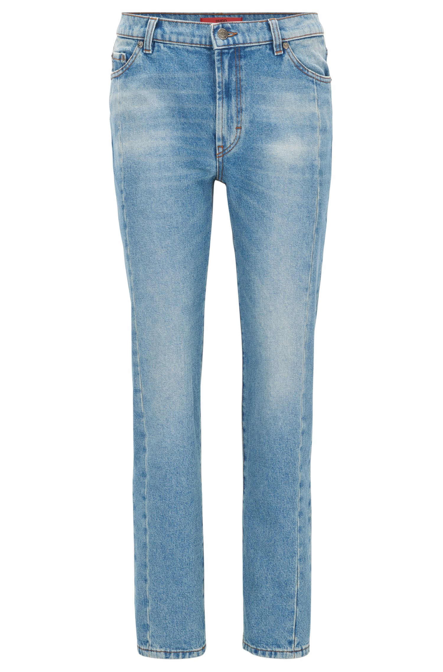 Skinny-fit jeans van denim in peper-en-zoutlook