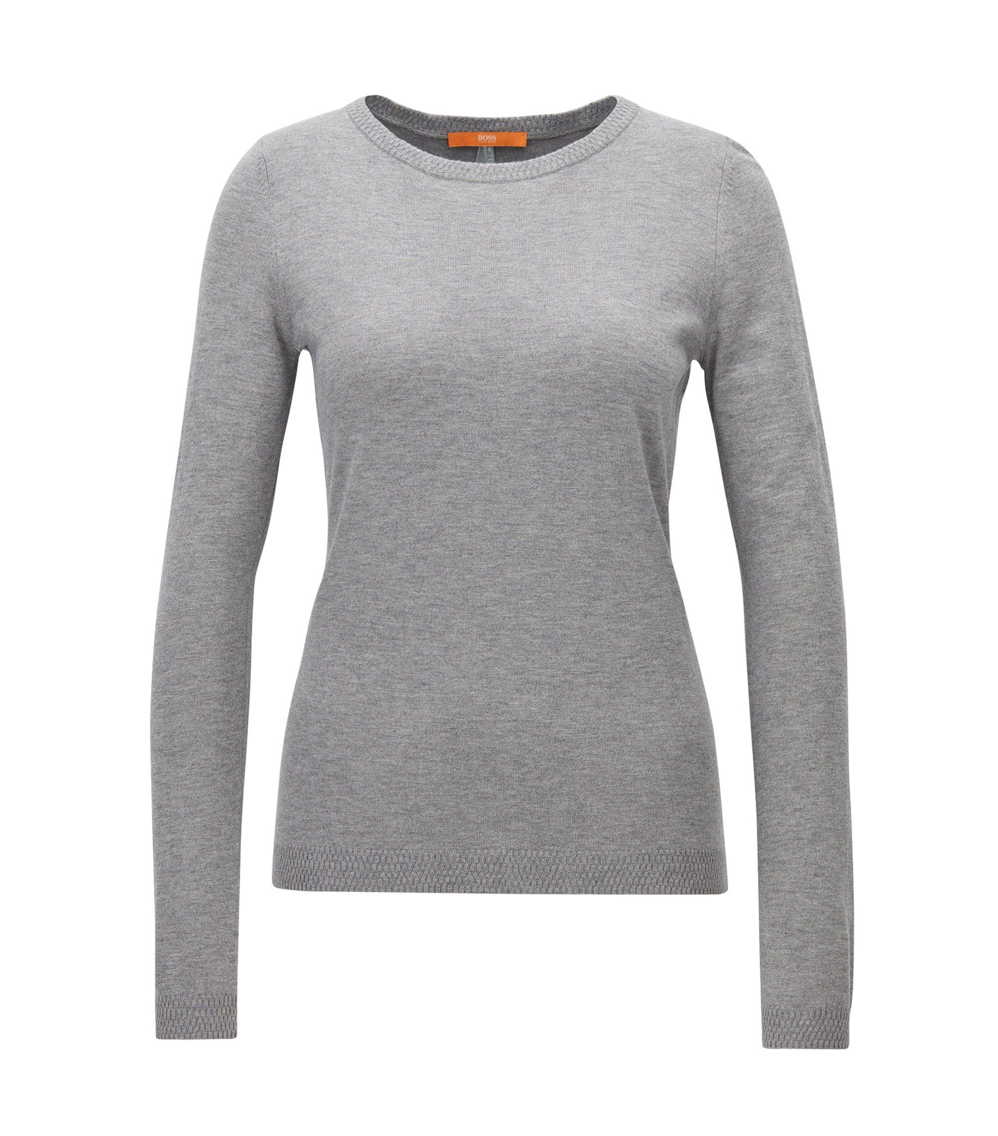 Slim-fit trui van een single-jerseymix, Grijs