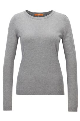 Pull Slim Fit en jersey simple mélangé, Gris