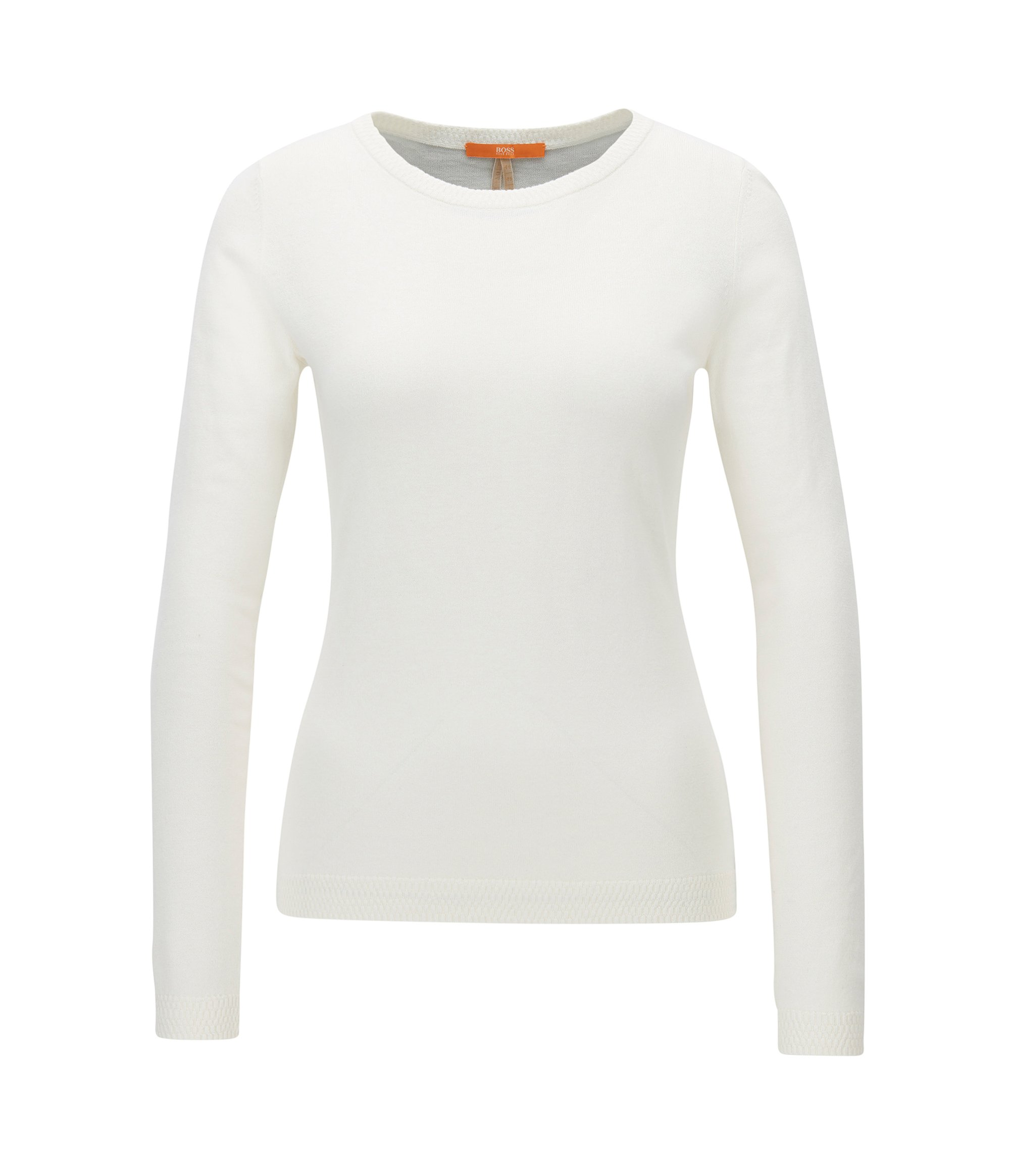 Slim-fit sweater in single jersey blend, Natural