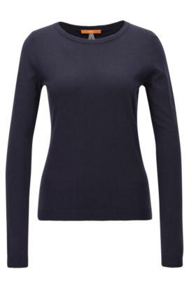 Jersey slim fit en mezcla de punto sencillo, Azul oscuro