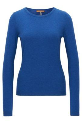 Pull Slim Fit en jersey simple mélangé, Bleu
