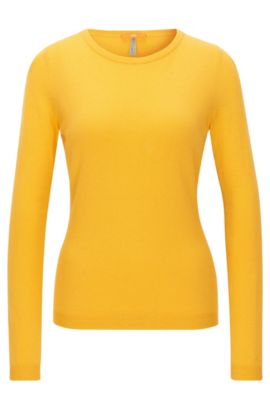 Pull Slim Fit en jersey simple mélangé, Or