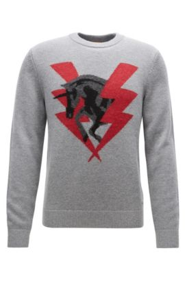 Knitted sweater with unicorn intarsia, Light Grey