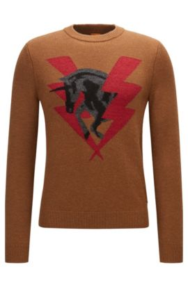 Knitted sweater with unicorn intarsia, Light Brown