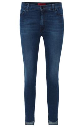 Extra Slim-Fit Jeans aus Super Stretch Denim mit asymmetrischem Saum, Dunkelblau