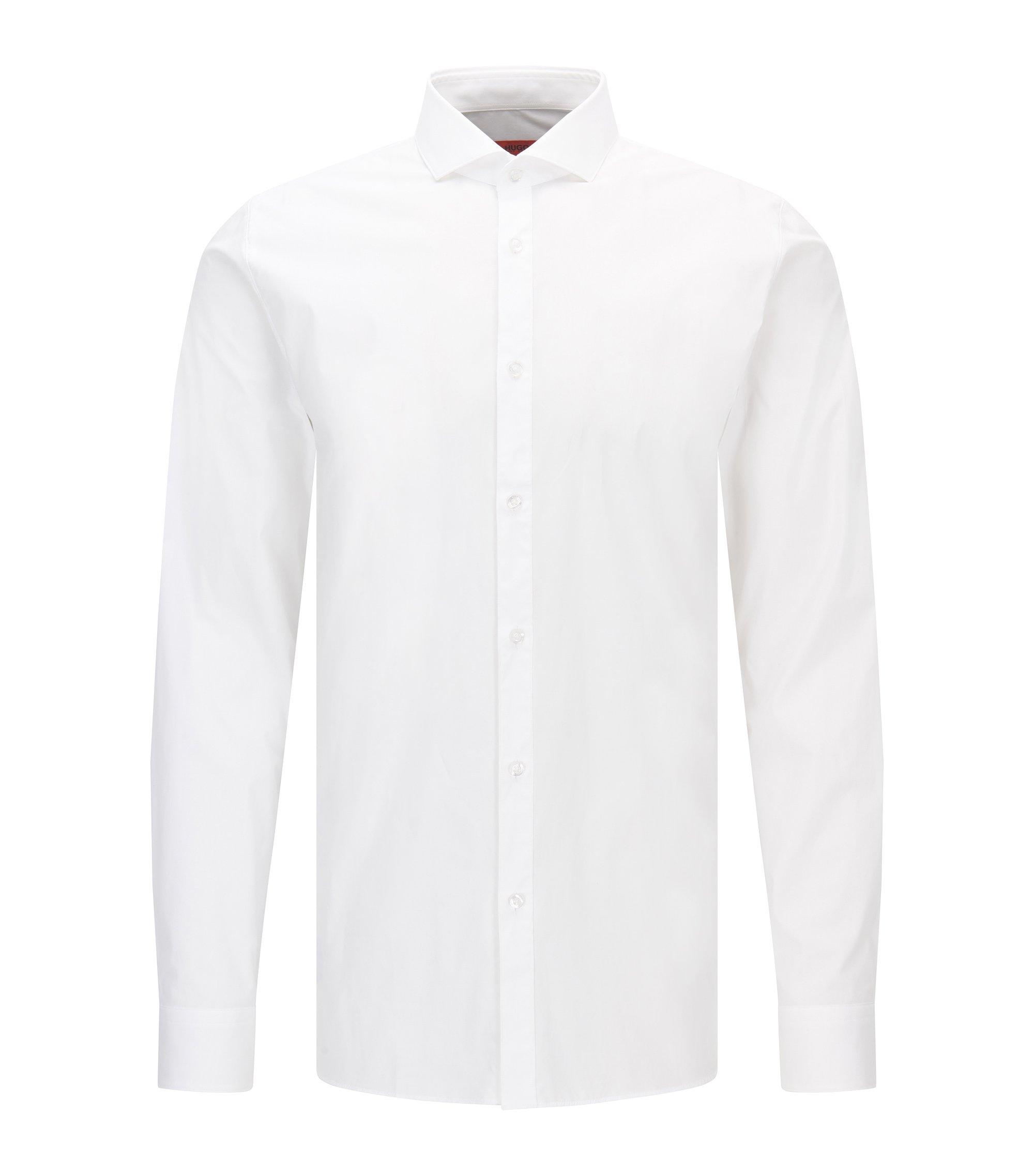 Camisa extra slim fit en popelín de algodón elástico, Blanco