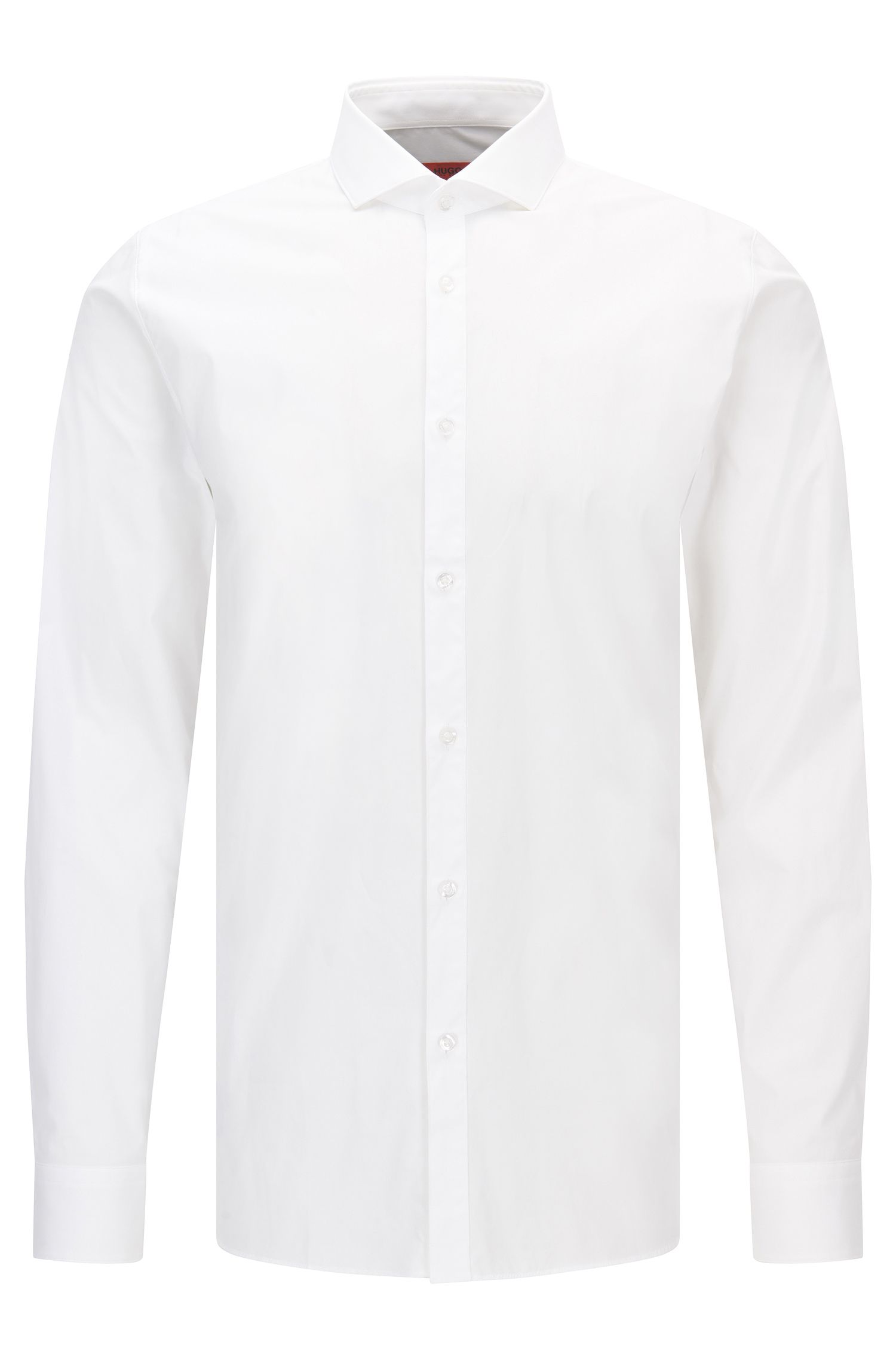 Camisa extra slim fit en popelín de algodón elástico